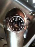 Rolex date-just black with diamond dial mens