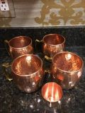Copper Moscow Mule Glassware--Set of 4 plus shot glass