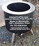 $299, Smoke Free Back Yard Fire Pit -100 Stainless Steel-Life Time Warranty