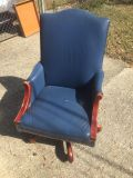 Blue leather office chair $20