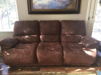 Fabric couch with recliners
