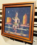 """Vintage 40 Year Old Authentic Navajo """"Yei Be Chai"""" Dancer Sand Painting (Signed)"""
