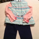 Little Girl NEW! Adorable 3 Pc Cute Design with Jacket outfit! Size 5/5t maybe a small 6
