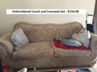 Embroidered Beige Couch