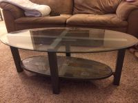 Glass top coffee and 2 end tables