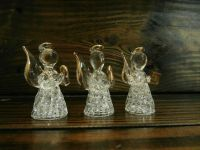 Set of 3 mini spun glass angels