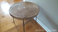 ROUND NATURAL WICKER SIDE TABLE WITH METAL FRAME AND LEGS