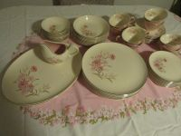 1950's 8 placement setting Taylor Smith Taylor Pink Carnation Dishes 51 pcs