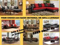 $399, $399 YOUR CHOICE NEW Sectional or Sofa  Loveseat  4 Colors to Choose From $399