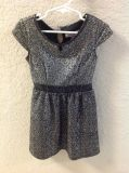Black and silver cap sleeve dress