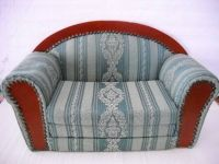 "Vintage 1950 Couch Hand Made For Big Doll Made Of Wood & Cloth 21""x 9"""
