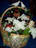 Wedding basket tead bear not really flowers and candles