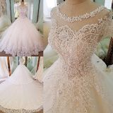 Sarah's Lace Applique A Line Wedding Gown Without Train