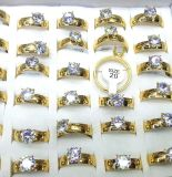 $72, Set of 36 beautiful 24k gold plated stainless steel rings zirkonia. Wholesale. Free shipping in US.