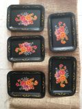 Set of 5 very vintage tipping trays