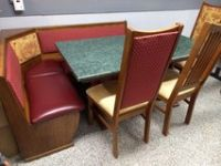 Table with bench storage and 3 chairs
