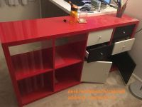 red&white DIY desk/L workbench/cabinet