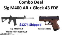 For Sale: Sig M400 AR + Glock 43 9mm FDE (Both New In Box) $1274 Shipped!