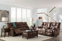Double reclining sofa and loveseat espresso