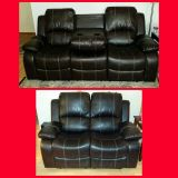 New Brown Leather Reclining Sofa and Loveseat