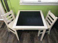 Kids table with chalkboard top with 2 chairs