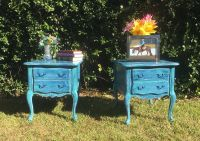 Hand Painted FRENCH PROVINCIAL Beachy Distressed End tables
