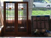 Pair of Leaded Bungalow Glass Windows