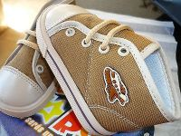 toddler canvas-high top tennis shoes-light brown-laces-new in box