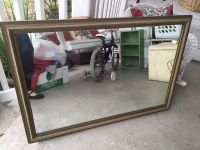 Nice antique wood framed mirror with rosette picture hanging cord