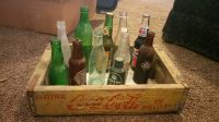 Vintage 1960's Wood Coca-Cola Crate and Collectible Bottles