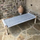 Calypso St Barth Metallic Woven Bench, Coffee Table, Meditation Platform. Sturdy Woven Silver Home Accent