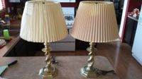 2 Mid Century Stiffel Brass Table Lamps with Shades
