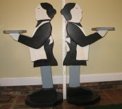 American Folk Art -- Wood Butler Stand and Maid Stand- For the Pair