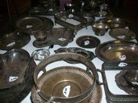 SILVER AND SILVER PLATED SERVING DISHES (BROWNSBORO)