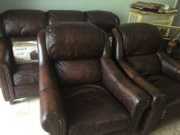 leather sofa /2 chairs medium sized