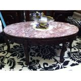 Oval Marble Coffee Table (cherry wood)