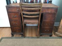 Antique Wood Desk with built in bookcase
