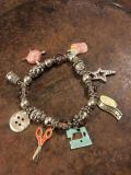 Silver Stretch Bracelet with Enameled Charms