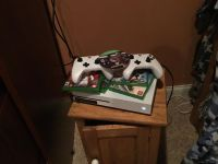 Xbox one s with 6 games, 2 controllers, and headset