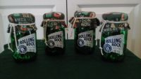 Rolling Rock Mason Glass Jars W/ Vintage Bottle Opens Inside