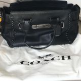 Coach Swagger Carryall in Laquer Rivets Pebble Leather (Black)- Retails for $598