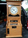 ANTIQUE OAK Cincinnati Time Recorder Regulator Punch Clock Day Date