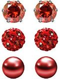 3 pair .6 mm stud red earrings (Valen'ts Day gift)
