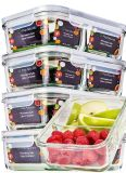 Brand New Set of 5 two compartment glass containers with lids