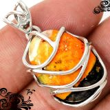 New - Bumble Bee Gemstone Wire Wrap 925 Sterling Silver Pendant (Includes a chain)
