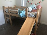 Twin loft bed with slide solid wood