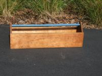 Long Wood Tool Box with Blue Handle