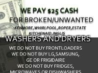 MONEY FOR CERTAIN BRAND BROKEN WASHERS AND DRYERS