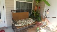 3 pc patio set with tropical print cushions