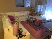 White Couch, Coffee Table & Area Rug
